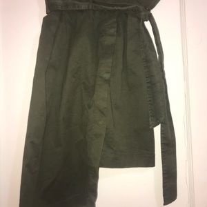ZARA ARMY GREEN PAPERBAG SKIRT TRENDY NEW WITH TAG